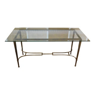1980s Vintage Iron Base & Glass Top Hallway Console Table