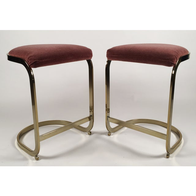 Milo Baughman Style Cantilever Bar Stools - A Pair - Image 4 of 7