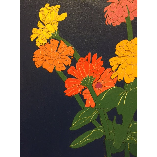 1970s Colorful Zinnias Painting - Image 4 of 6