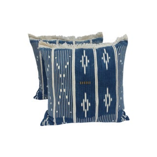 Indigo Ikat Fringe African Pillows - A Pair