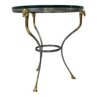 Jansen Style Steel & Brass Gueridon Table