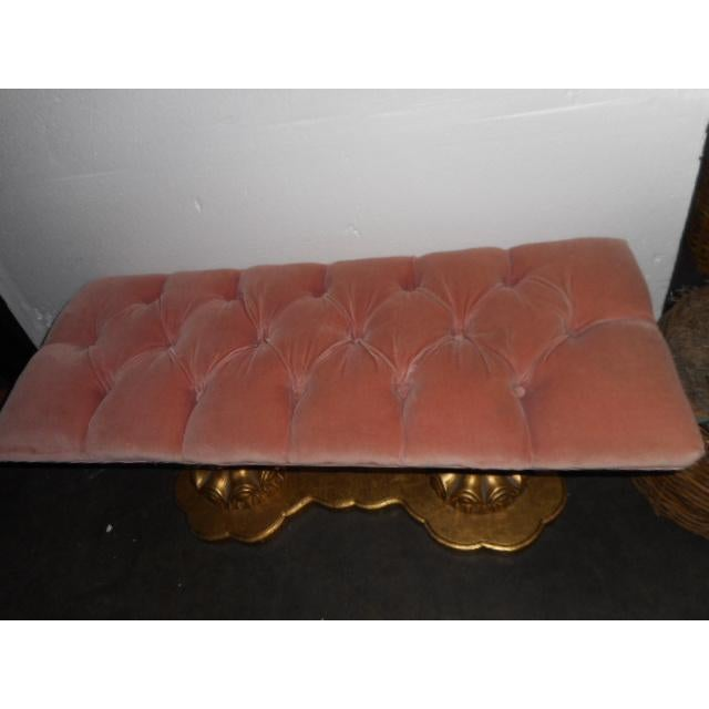 Image of French Pink Velvet Bench