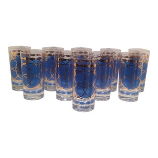 Mid-Century Dominion Blue & Gold High Ball Glasses - Set of 10