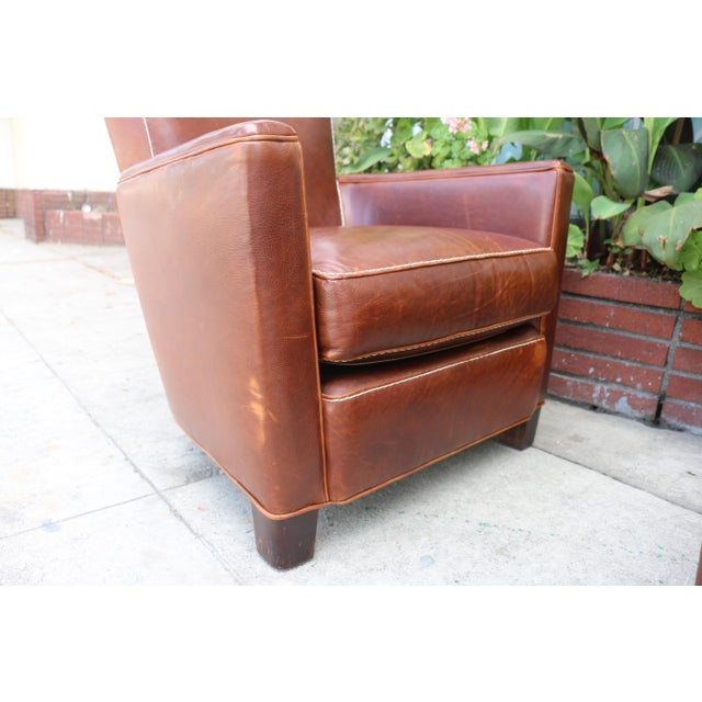 crate and barrel leather chairs a pair chairish. Black Bedroom Furniture Sets. Home Design Ideas