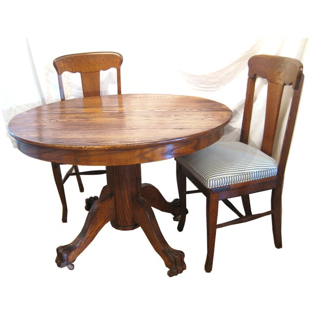 Round Claw Foot Oak Dining Set - Image 5 of 6
