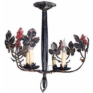 French Wrought Iron Leaf Motif Chandelier