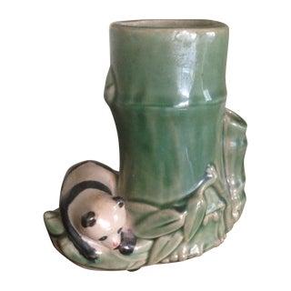 Mid-Century Faux Bamboo Ceramic Panda Vase