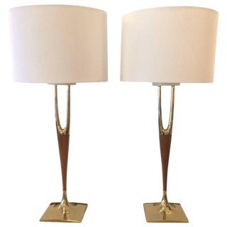 Mid-Century Modern Wishbone Table Lamps - A Pair