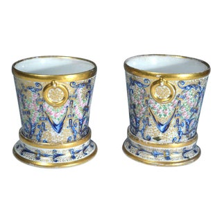 Pair of Coalport Porcelain Miniature Cachepots & Stands