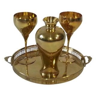 Mid-Century Brass Goblets, Vase & Tray - Set of 4