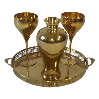 Mid-Century Four Piece Brass Set