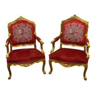 Carved Gilt Gold French Style Bergere Lounge Arm Chairs - a Pair