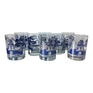 8 Vintage Chinoiserie Blue Willow Glasses-Luminarc