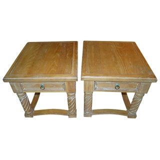 Solid Oak Side Tables - a Pair