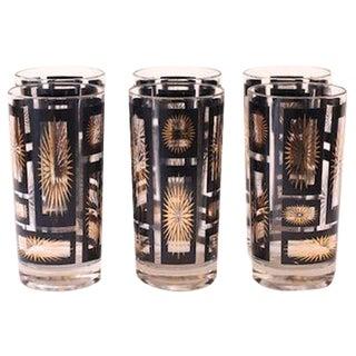 Black & Gold Sunburst Glasses - Set of 6