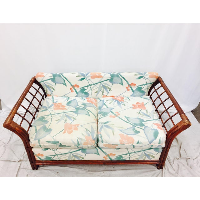 Image of Mid-Century Woven Wicker & Rattan Loveseat
