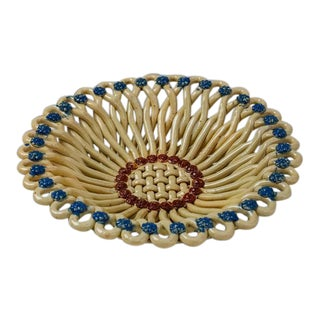 Massier Woven Yellow and Blue Ceramic Bowl, Vallauris, France, 1950s