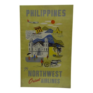 C 1960 Northwest Orient Airlines Philippines Travel Poster
