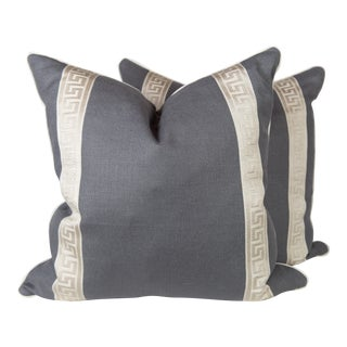 Charcoal Linen & Ivory Greek Key Pillows - A Pair