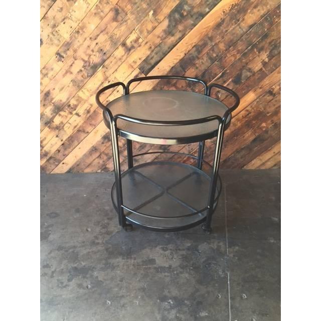 Rolling Outdoor Metal Glass Bar Cart - Image 3 of 6