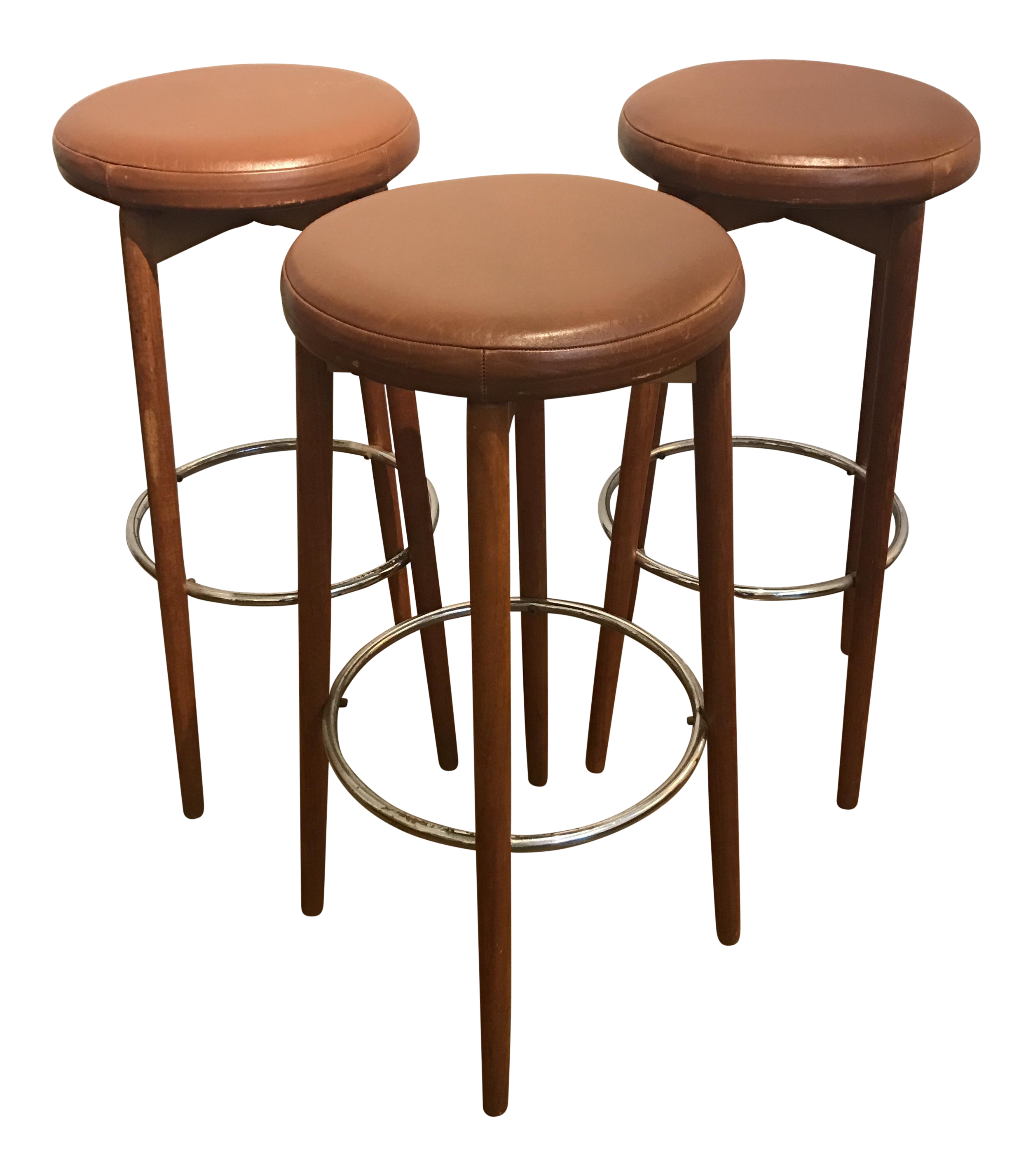 Danish Teak Amp Leather Bar Stools Set Of 3 Chairish