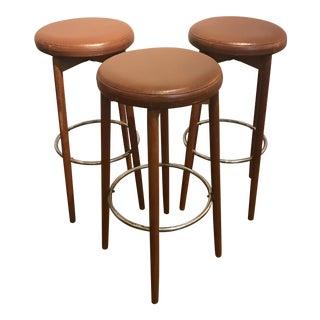 Danish Teak & Leather Bar Stools - Set of 3