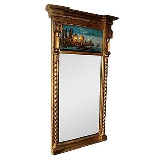 19th C. Empire Églomisé Reverse Painted Mirror