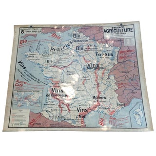 1950s French Two-Sided School Map of France