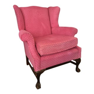 Vintage Bright Pink Wingback Chair
