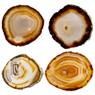 Agate Slice & Gold Rim Coasters - Set of 4