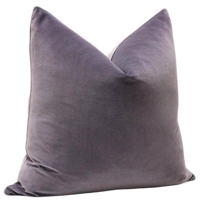 "22"" Smokey Amethyst Velvet Pillows - A Pair - Image 3 of 4"