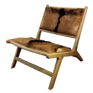 Goat Hair & Teak Lounger