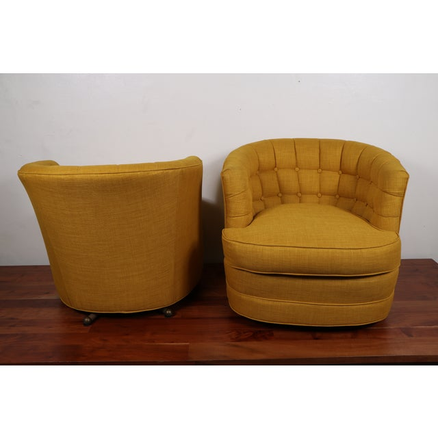 Image of Tufted Swivel Chairs - Pair