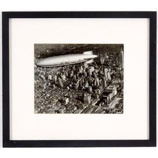 """""""Zeppelin Over New York"""" Framed Black & White Photograph, Circa 1930"""