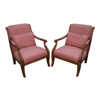 French Empire Regency Arm Chair Fauteuils - Pair