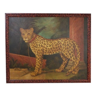 William Skilling Oil on Canvas Painting of a Leopard