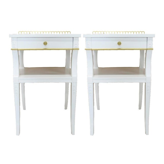 Neoclassical-Style Nightstands, Pair - Image 2 of 6