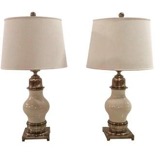 Stiffel Mid-Century Ceramic & Brass Lamps - A Pair
