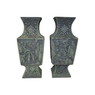 Verdigris Chinoiserie Vases - A Pair