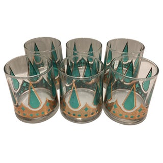 Mid-Century Teal & Gold Low Ball Glasses - Set of 6