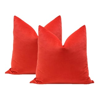 "20"" Vermillion Red Velvet Pillows - A Pair"