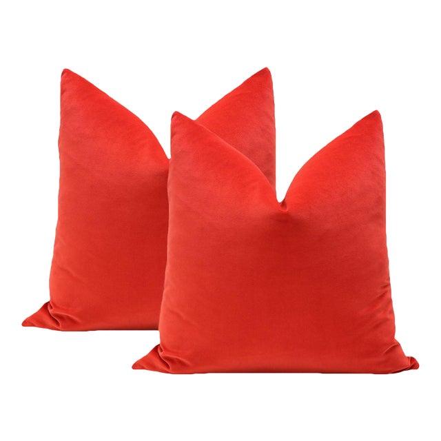 "20"" Vermillion Red Velvet Pillows - A Pair - Image 1 of 5"