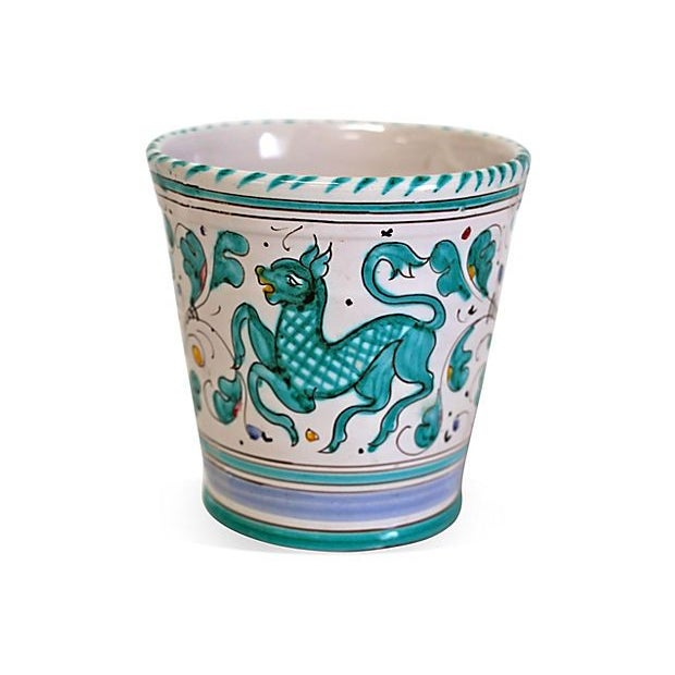 Image of Italian Ceramic Hand-Painted Planter
