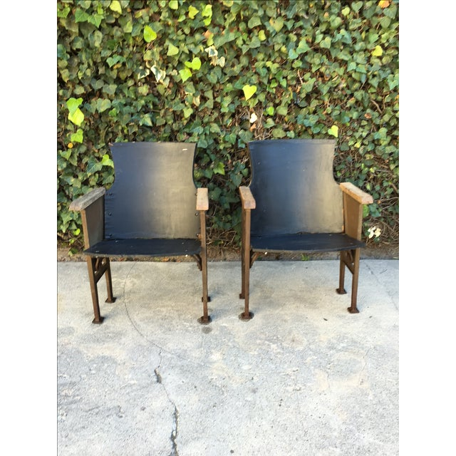 Image of Black & Gold Theatre Chairs - A Pair