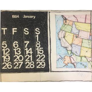 1984 Pastel Calendar Map