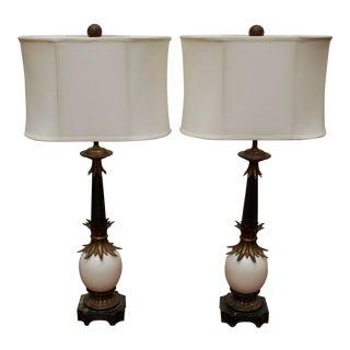 Stiffel Ostrich Egg Brass Lamps - A Pair
