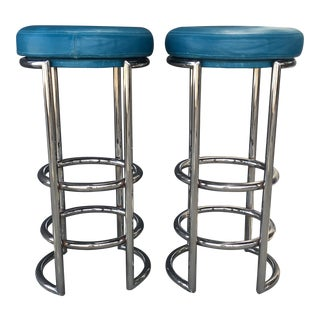 Chrome & Leather Bar Stools - A Pair