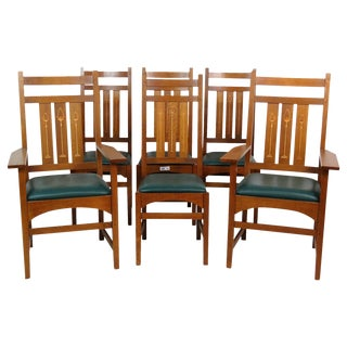 Stickley Inlaid Oak Dining Chairs - Set of 6