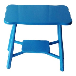 Blue Lacquered Small Side Table