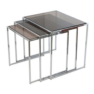 Baughman Chrome Smoked Glass Nesting Tables - 3